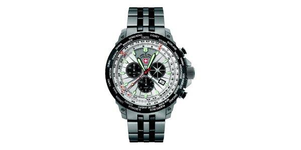 Pánské hodinky z oceli se světlým ciferníkem Swiss Military