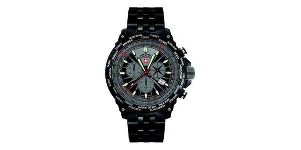 Pánské tmavé hodinky z oceliSwiss Military