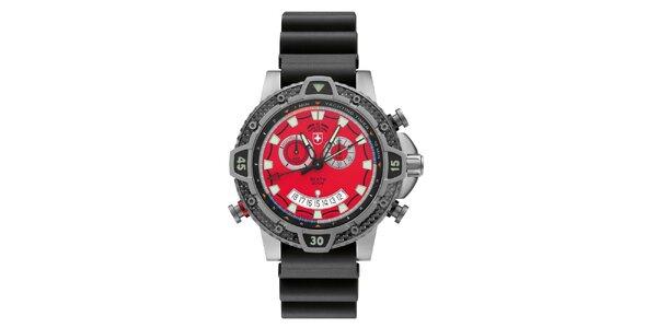 Pánské titanové hodinky s červeným ciferníkem Swiss Military