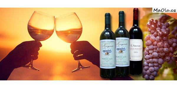 3 láhve výtečného francouzského vína AOC kvality