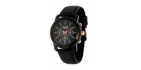 Pánské černé ocelové hodinky Sector s koženým řemínkem a zlatými detaily