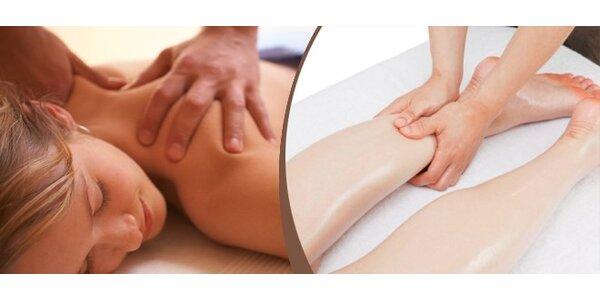 Masáž částečná v délce 30 minut, záda + šíje nebo dolní končetiny