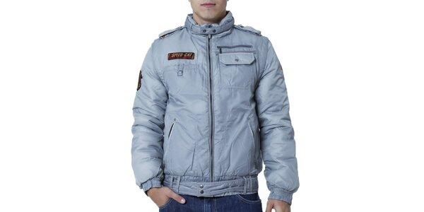 Pánská šedá bunda s nášivkami Puma
