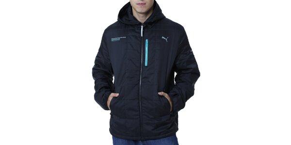 Pánská černá bunda s modrými detaily Puma