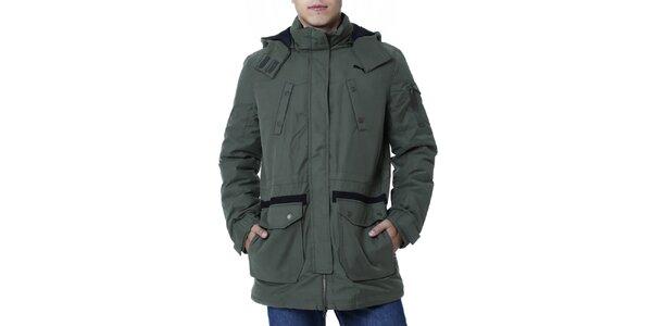 Pánská khaki bunda delšího střihu Puma