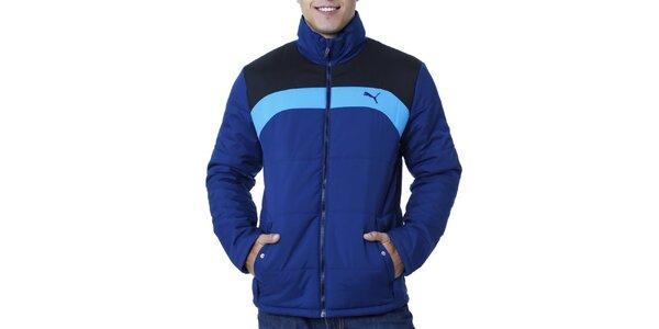 Pánská modrá bunda s kontrastními pruhy Puma