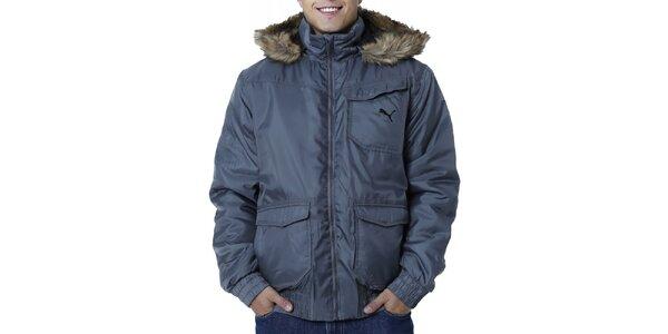 Pánská šedá bunda s kapucí s kožíškem Puma