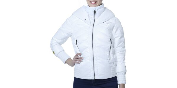 Dámská bílá bunda s kapucí a nášivkou Puma
