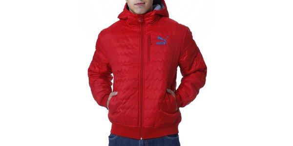 Pánská červená prošívaná bunda s modrým logem Puma