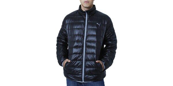 Pánská černá prošívaná bunda s kontrastním zipem Puma