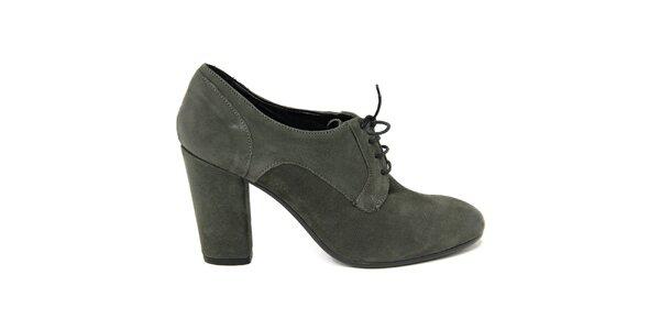Dámské tmavé šněrovací boty na podpatku Nina Morena