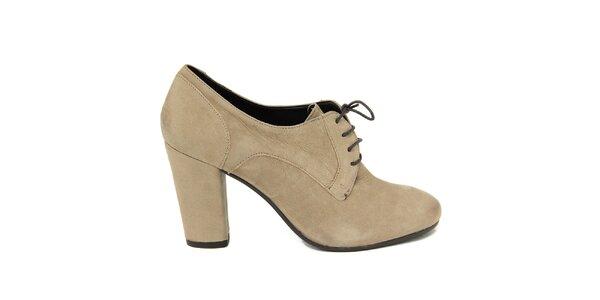 Dámské světlé šněrovací boty na podpatku Nina Morena