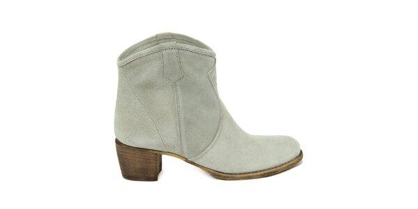 Dámské světlé semišové kotníkové boty Nina Morena