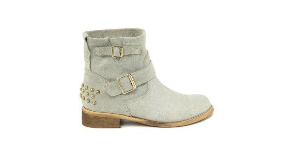 Dámské světlé semišové boty s přezkami Nina Morena