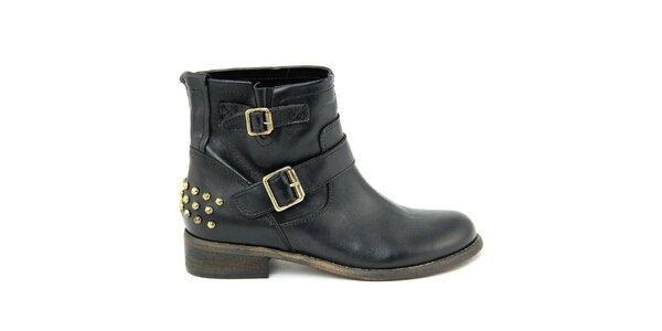 Dámské černé kožené boty s přezkami Nina Morena