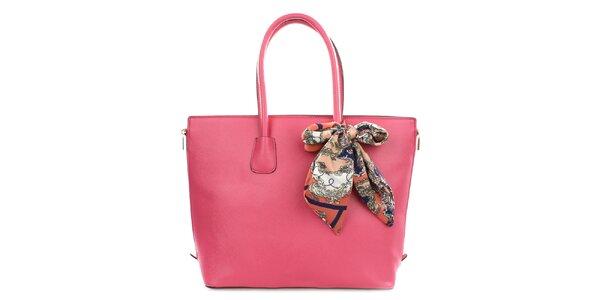 Dámská růžová kabelka se šátkem Gessy