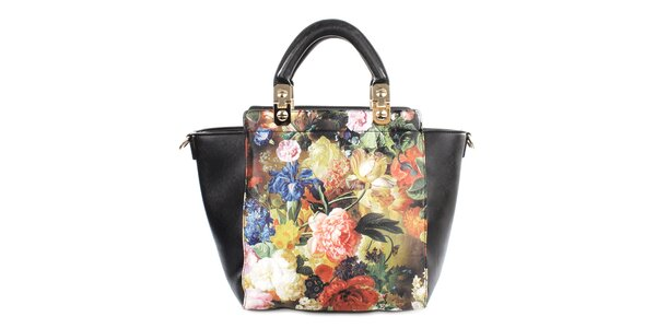 Dámská černá kabelka s květinovým motivem Gessy
