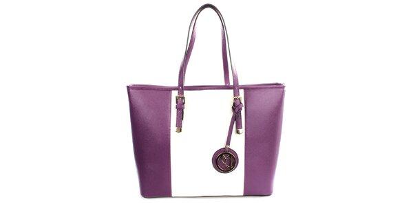 Dámská fialovo-bílá kabelka s přívěskem Gessy