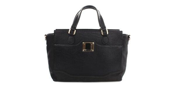 Dámská černá kabelka s kovovým detailem Gessy