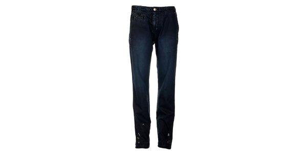 Pánské tmavě modré kalhoty Tommy Hilfiger s potiskem