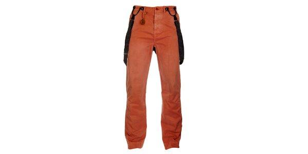 Pánské lososové kalhoty Tommy Hilfiger s kšandami
