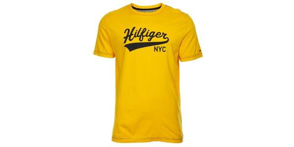 Pánské žluté tričko Tommy Hilfiger s potiskem