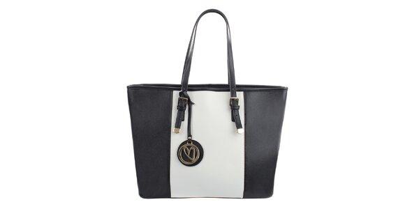 Dámská černo-bílá kabelka s přívěskem Gessy