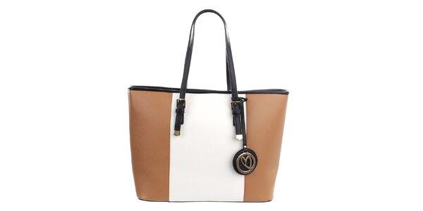 Dámská béžovo-bílá kabelka s přívěskem Gessy