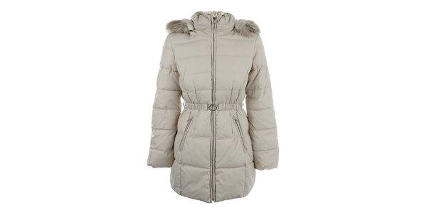 Dámský světlý kabát s kapucí a páskem Halifax