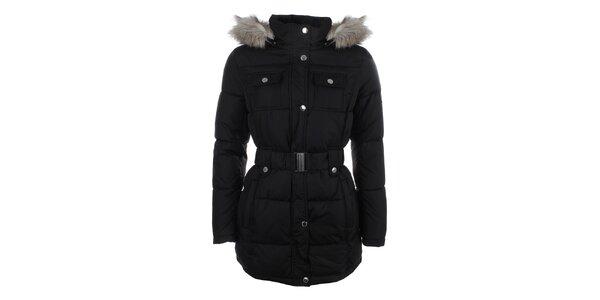 Dámská černá prošívaná bunda s umělým kožíškem Halifax