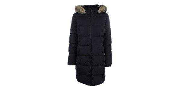 Dámský tmavě modrý prošívaný kabát s kapucí a kožíškem Halifax