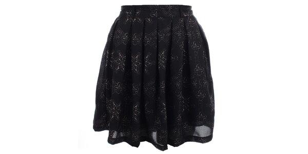 Dámská černá sukně s jemným potiskem Iska