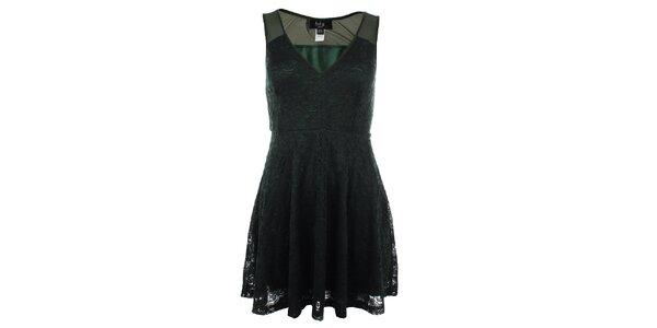 Dámské tmavě zelené krajkové šaty Iska