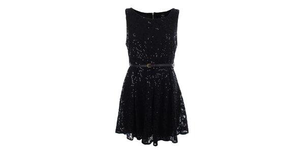 Dámské černé krajkové šaty s flitry Iska