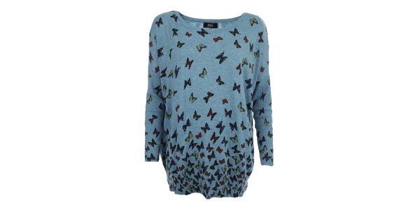 Dámský modrý oversized svetr s motýlky Iska