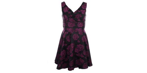 Dámské šaty s fialovými květy Iska