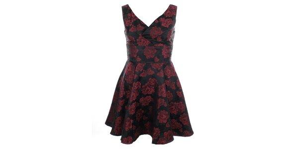 Dámské šaty s červenými květy Iska