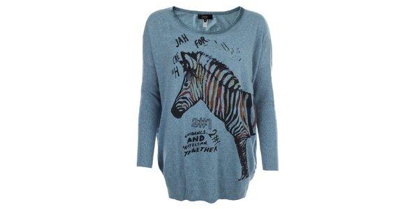 Dámský modrý oversized svetr se zebrou Iska