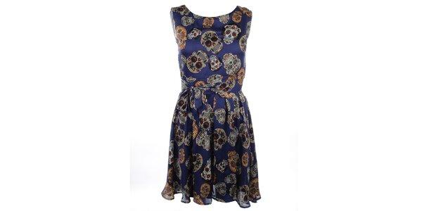 Dámské modré šaty s potiskem Candy Skulls Iska