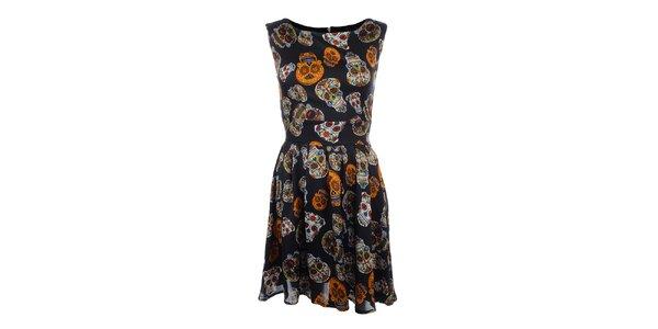 Dámské černé šaty s barevnými lebkami Iska