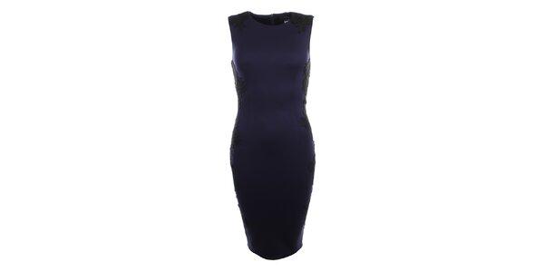 Dámské tmavě modré šaty s černou krajkou Iska