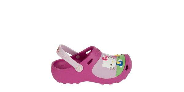 Dívčí malinové Hello Kitty pantofle Crocs