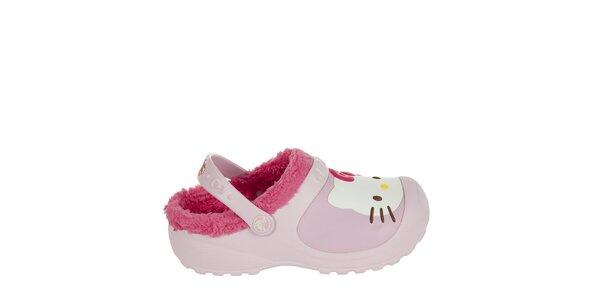 Dívčí růžové pantofle s plyšem Crocs