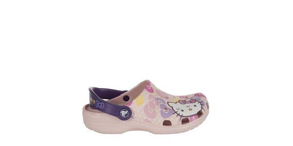 Dívčí růžové Hello Kitty pantofle Crocs