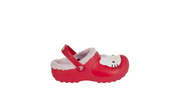Dívčí červené pantofle s plyšem Crocs