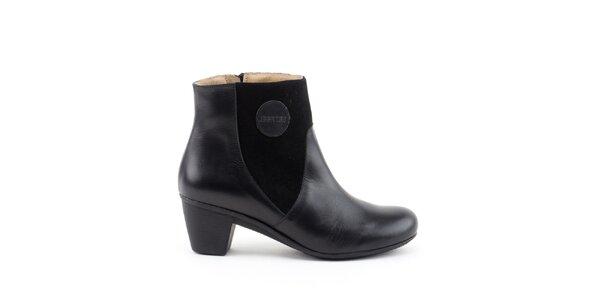Dámské černé kotníkové boty se semišovými prvky Liberitae