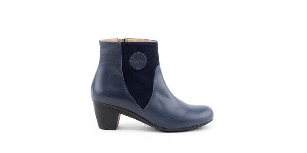 Dámské modré kotníkové boty se semišovými prvky Liberitae