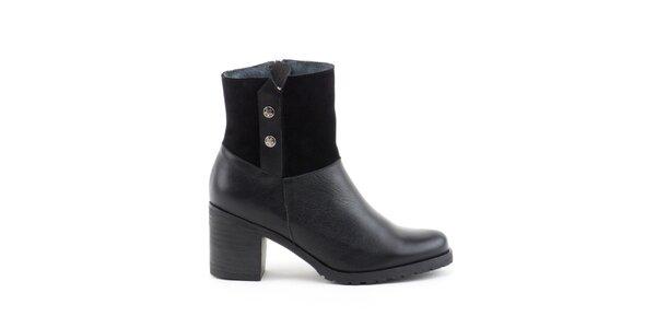Dámské černé boty s širokým podpatkem Liberitae