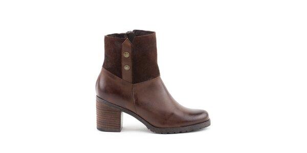 Dámské hnědé boty s širokým podpatkem Liberitae