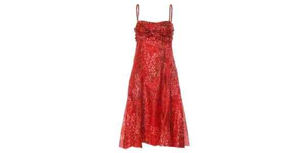 Hedvábné červené šaty Pietro Filipi se zvířecím potiskem